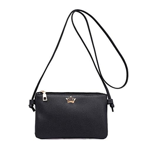 Beikoard -30% vendita calda borsa a tracolla in pelle da donna borsa a tracolla in pelle a tracolla colore puro (nero)