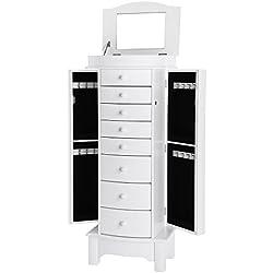 SONGMICS Meuble à tiroir pour Bijoux, avec Miroir intérieur, Grande capacité, Velours, 8 Tiroirs, Style Nordique, Panneau de Fibre MDF, Blanc JBC17W