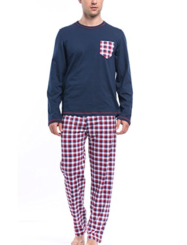Dn-Nightwear PMB.8015 Classique Confortable Pyjama - Fabrique En UE bleu marine-rouge