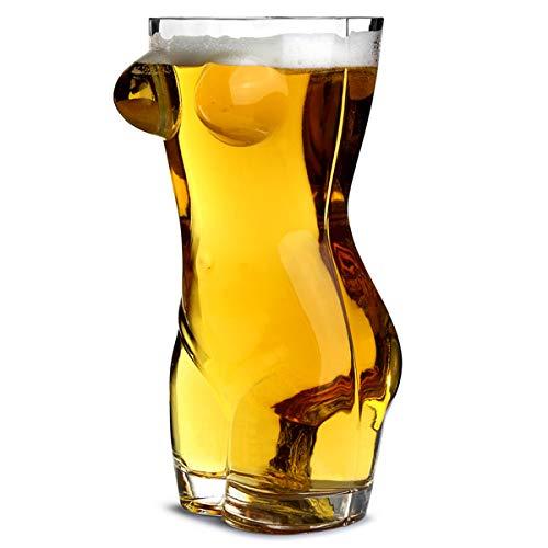 Vaso de cerveza con forma de torso de mujer (fabricado en cristal, tamaño de pinta, ideal como regalo para hombres)