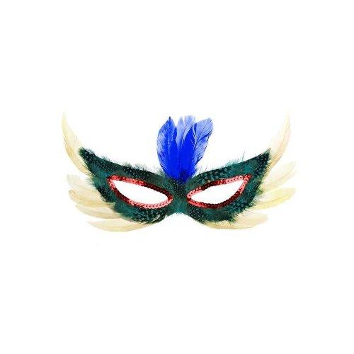 Augenmaske mit Federn in hellgelb-grün (Augenmaske Feder)