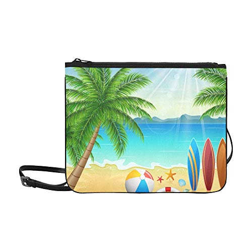 WYYWCY Tropical Beach Bright Sun Benutzerdefinierte hochwertige Nylon Slim Clutch Bag Cross-Body Bag Umhängetasche