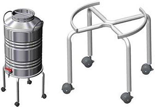 Treppiede piedistallo con ruote per contenitore fusto olio acciaio bidone fino a 50 lt