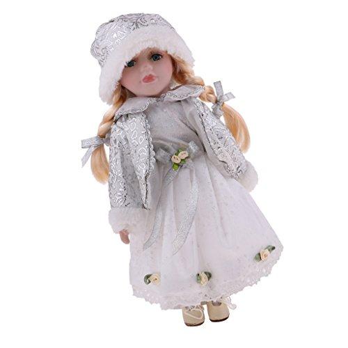 Baoblaze 30cm Mini Viktorianische Mädchen Porzellanpuppe Minipuppen mit Verstellbarer Metallständer Sammlerstück für Sammler - # D -