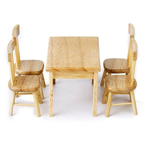 rcdxing Juego de mesa de comedor silla de madera 1: 12para casa de muñecas mobiliario
