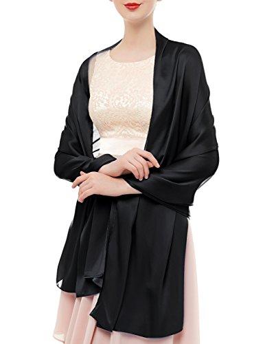 Bridesmay Damen Elegant Seidenschal 180*90cm Seide Halstuch Stola Schal für Kleider in 20 Farben Black