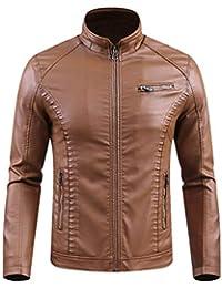 Xinwcang Herren Lederjacke Winter Warm PU Leder Biker Jacke Winterjacke  Zipper Herrenjacke Outdoor Übergröße 8ef99e47b9