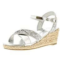 Miss Riot Jorja Girls Synthetic Material Strappy Silver - 3 UK