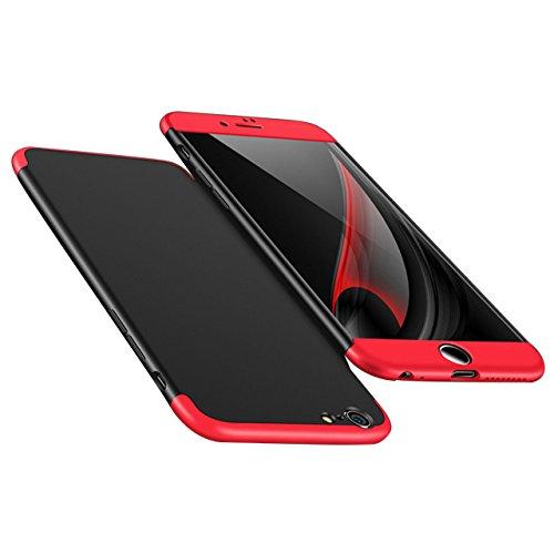 Coque iPhone 8+ , Sunroyal PC Matière iPhone 7+ Coque avec [Ultra Mince] [Ultra Léger] Anti-Rayures Anti-dérapante iPhone 8 Plus Case Coque Housse Bumper Cover Ultra Rigide Léger 360 Case Degres Soupl Rouge Noir