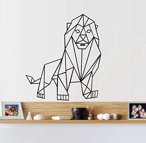 Qliyt Geometrische Löwe Wandaufkleber Wohnzimmer Hintergrund Geometrie Serie Aufkleber Wandkunst Diy Für Wohnkultur Aufkleber Kindergarten Dekoration, 58 * 66 Cm -
