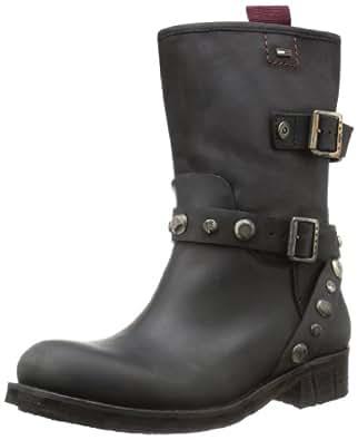 Hilfiger Denim BIKER 1A EN56816052, Damen Biker Boots, Schwarz (BLACK 990), EU 42