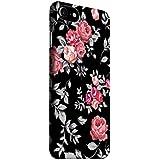 MADANYU Black Floral Blooming Roses Feeling Floral Designer Printed Hard Back Shell Case for Apple iPhone 7
