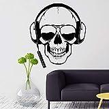 hllhpc Gamer Tatuajes de Pared Skull Headphones Gamer Etiqueta de la Pared Gafas de Sol extraíbles Jugador Cartel de la Pared niños Sala de Juegos decoración 57 * 66 cm