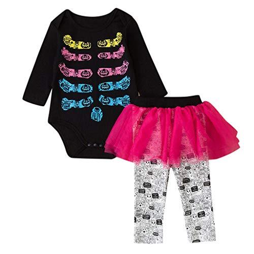 Yanhoo Kleinkind Kinder Baby Mädchen Knochen PrintHalloween Romper+Tutu Rock Hosen Outfits (0 24M) Cartoon Halloween gedruckt Haberdash Mesh Tutu Kleid Set -