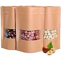 25pcs 9× 14(6.3mil) Mini carta kraft sacchetti supporto a cerniera fondo finestra Borsa per tè cibo dadi sigillato Sacchetti