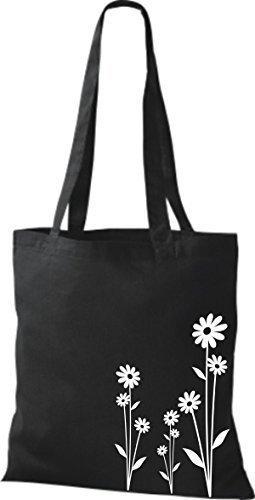 ShirtInStyle Stoffbeutel Flower Ornament Blume Baumwolltasche Beutel, diverse Farbe black