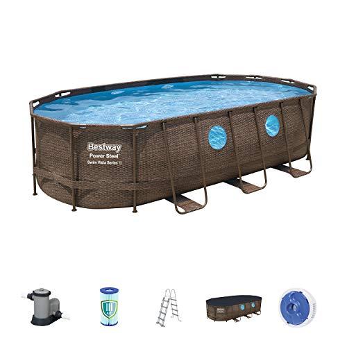 Bestway Power Steel Swim Vista Deluxe Frame Pool oval Komplett-Set mit stabilem Stahlrahmen, Rattanoptik, 549x274x122 cm