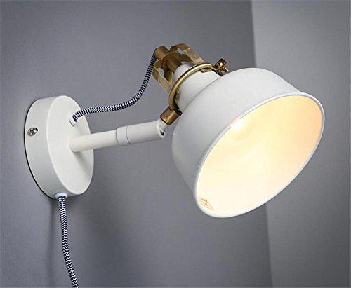 BIUODY Lampada da parete Parete moderna luci parete Wall Sconce camera da letto scala corridoio illuminazione Swing braccio ferro battuto parete lampada E27 bianco