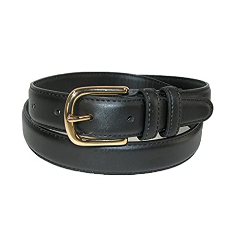 Aquarius Men's Leather Feather Edge Belt with Gold Buckle, 40,