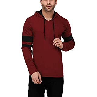 707ca57c0 Katso Men's Cotton Hooded Stripe T-Shirt (Maroon, Medium)