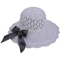 Henanyimeixiang Sombrero Hollow out Casquillo de la Paja Sombreros de la Playa for el Verano de Las Mujeres Sombreros Parasol Plegable Cap de la Playa (Color : Gray, Size : One Size)
