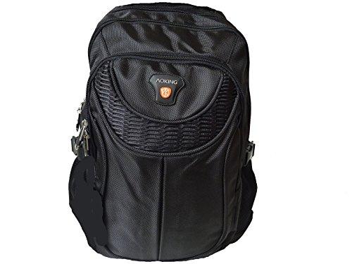 AOKING robuster Rucksack, Schulrucksack in 6 Farben 40x37x22 (schwarz black)