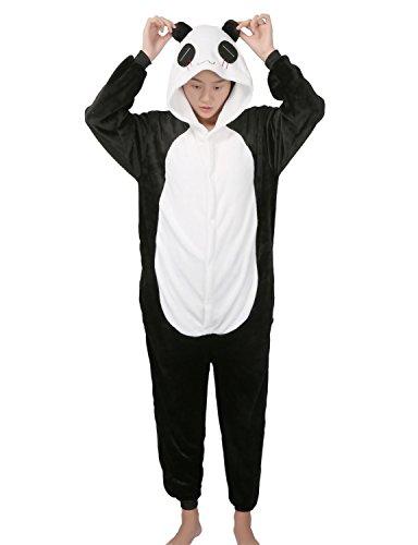 Pigiama donna uomo animale cosplay animato costume camicie da notte carnevale halloween-très chic mailanda (m per altezza 158-168cm, nero panda)