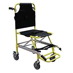 XIHAA Treppenstuhl, Faltbarer Medizinischer Notfall-Einzelne Personen-Operations-Treppen-Stuhl, Sanitäter-Geduldiger Transport 4 Rad Evakuierungs-Stuhl, Gelb Belastbarkeit: 350 Lbs