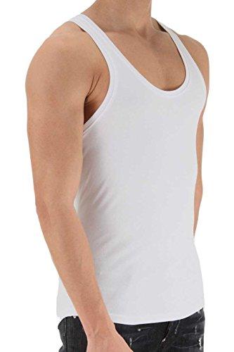 Slip Stretch-unterhemd (Dsquared² Classic Knit Herren Unterwäsche, Tanktop, Farbe: Weiß, Schwarz, Grau, Shirt Top, Unterhemd RIB COTTON STRETCH)