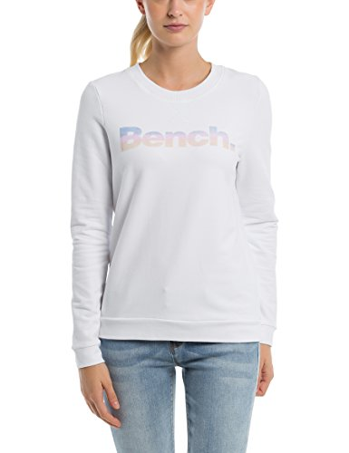 Bench Damen Sweatshirt Logo Crew Neck, Weiß (Snow White Wh11210), Medium (Herstellergröße: M)