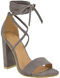 Lacets Nœud Cheville Enroulé Sandales Womens Dames À Talons Hauts Chaussures Épaisses Taille