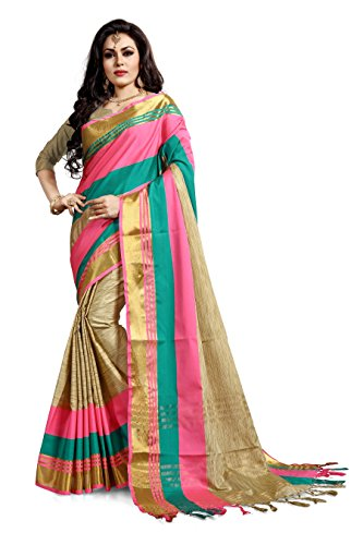 Ruchika Fashion Women's Cotton Silk Saree with Blouse Piece Material(Priyanshi_Multicolour_Free Size)