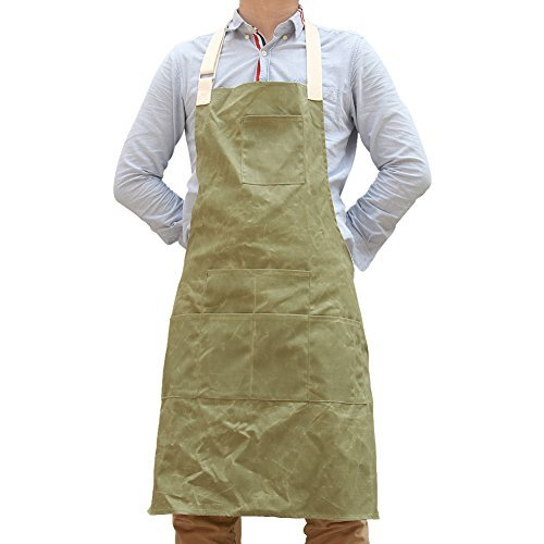 Hense Unisex Heavy Duty Waxed Canvas Work Apron With Waterproof Function, Soft and Ventilated Suit for Kitchen, Garden, Pottery, Craft Workshop, Garage and More Activities(HSW-066)