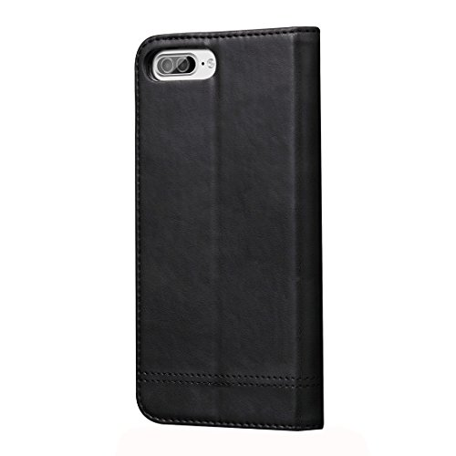 Hülle für iPhone 7 plus , Schutzhülle Für iPhone 7 Plus Retro Verrückte Pferd Textur Magnetische Adsorption Horizontale Flip Leder Tasche mit Card Slot & Holder & Wallet ,hülle für iPhone 7 plus , cas Black