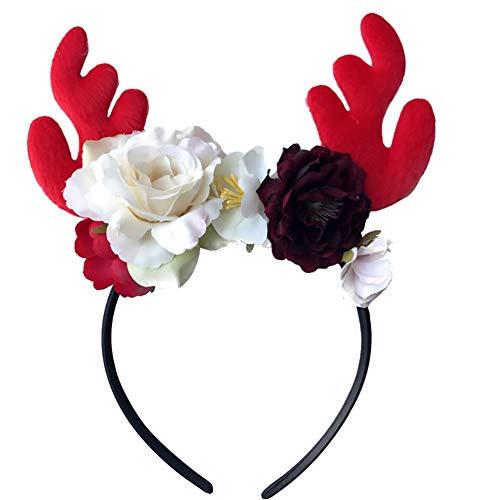 Cosanter Kinder Haarbänder Weihnachten Geweihform Stirnband Kopfschmuck Geeignet für Mädchen und Junge (Weiße Große Blume)