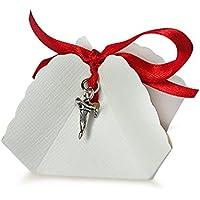 Bomboniera Store - Bomboniera Corno con cappello laurea Con packaging e con nastro blu per Eventi, Laurea, Portafortuna
