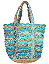 HabereIndia Girl's Jute Chic Tote Bag/Handbag (Multicolour)