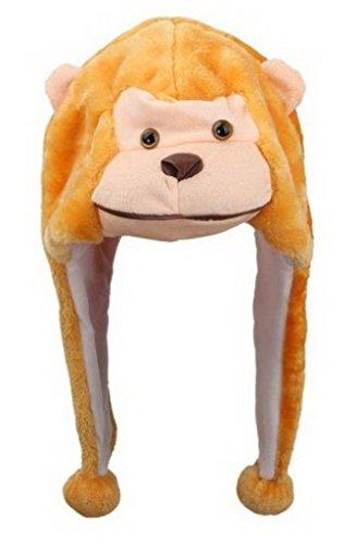 Bigood Liebe Plush Animal hat Winter Cosplay Plush Hat Plüsch Mütze One Size AFFE...
