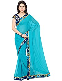 Varayu Women's Blue Georgette Printed Casual Wear Saree With Matching Un-stitched Blouse