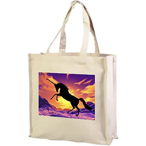 Unicorn en la nieve, diseño de fantasía, algodón crema bolsa de la compra
