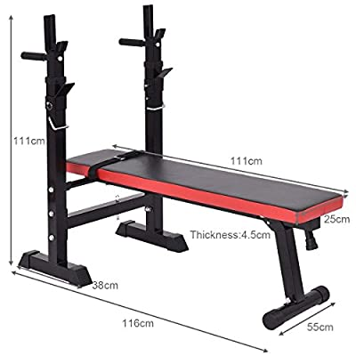 FIT4HOME ES-555 Essential Workout Weight Bench with Rack - Black/Red by RFE International