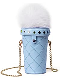 Aimeio Pu Leather Ice Cream Shoulder Bag Milk Tea Cola Cup Mobile Phone Bag Chain Messenger Cross Body Bag, Blue