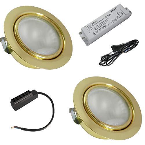 2 Stück Möbeleinbauspot Laura 12 Volt 20 Watt inkl. Kabel mit AMP Stecker, Trafo und 230 V Zuleitung - Farbe Gold -