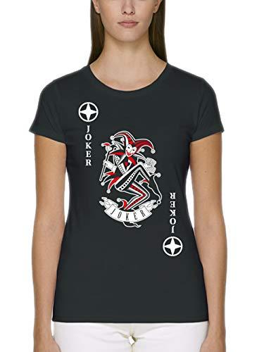 Joker Schwarz Kostüm Und Rot - clothinx Damen T-Shirt Fit Bio und Fair Karneval & Fasching Spielkarte Joker Kostüm Schwarz/Weiß_Rot Größe S
