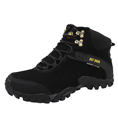 HDUFGJ Herren Trekking-& Wanderhalbschuhe Wasserdicht rutschfeste Atmungsaktiv Outdoor-Schuhe Laufschuhe Bequem Mode Freizeitschuhe Leichtgewicht Turnschuhe Fitnessschuhe Flache Schuhe42(Schwarz)