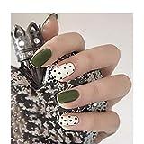 JINHUA-Fake nails Falso Nail Avocado Verde Bianco Punto dell'onda Combinazione Corta Testa Rotonda Copertura Completa Nail Patch Estate Piccolo Fresco 24 Pezzi/Box