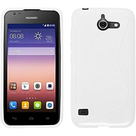 Funda de silicona para Huawei Ascend Y550 - S-Style blanco - Cover PhoneNatic Cubierta + protector de