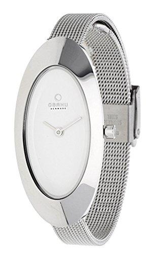 Obaku Denmark V156LCIMC - Reloj analógico para mujer de acero inoxidable blanco