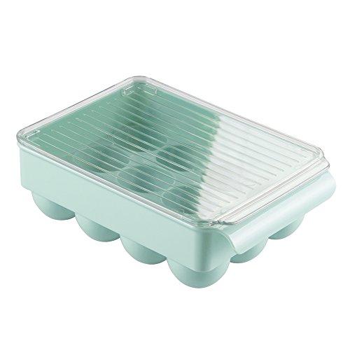 InterDesign-Contenitore porta uova, in plastica, 12 Mdesign con coperchio per Mini frigorifero, Fridge/cucina, colore: verde/trasparente