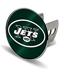 NFL New York Jets Laser Cut Metal Hitch Cover, Large, Silver by Rico